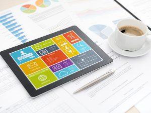 Modern digital tablet on office desk